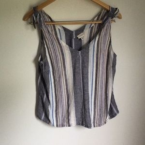 Tops - Eco friendly chambray vertical striped top